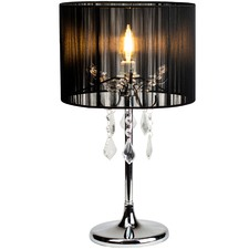 Black Paris Crystal Metal Table Lamp