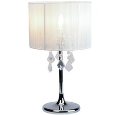 Paris Chrome Table Lamp with White String Shade