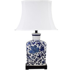 White & Blue Thiais Ceramic Table Lamp