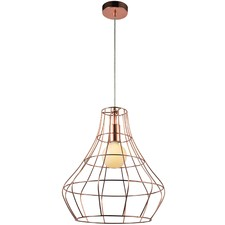 Ruben 1 Light Pendant Light with Copper Cage