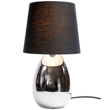 Touch Table Lamp in Chrome with White Shade