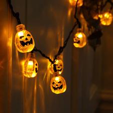 20 Warm White LED Pumpkin Light Chain