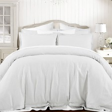 White Hotel Waffle Cotton Quilt Cover Set