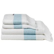 White & Aqua Blue Positano Fringed Towels