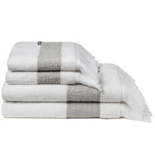 4 Pack of Positano White & Chiaro Grey Fringed Towels
