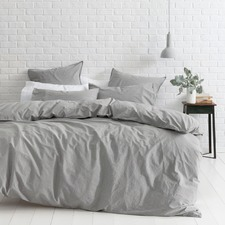 Smokey Grey Melange Vintage Softwash Cotton Quilt Cover Set