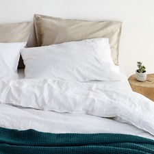 Sogno Carrara White Linen & Cotton Quilt Cover Set