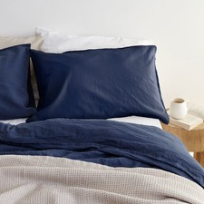 Sogno Indigo Blue Linen & Cotton Quilt Cover Set