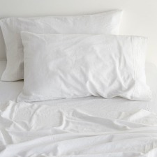 Sogno Carrara White Linen & Cotton Sheet Set