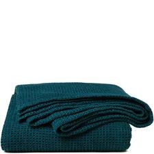 Sogno Teal Linen Blend Blanket