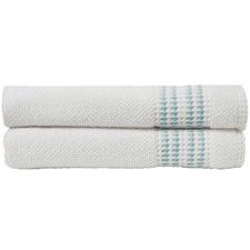Set of 2 Waffle Textured Border Bath Towels