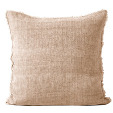 Fringed Vintage Style Linen Square Cushion