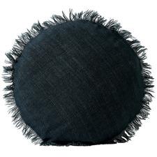 Fringed Vintage Style Linen Round Cushion