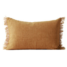 Fringed Vintage Style Linen Rectangular Cushion