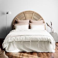 White Maison Vintage Linen-Blend Quilt Cover