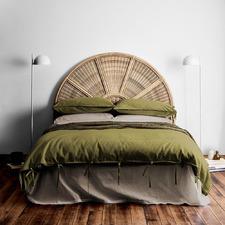 Olive Maison Vintage Linen-Blend Quilt Cover
