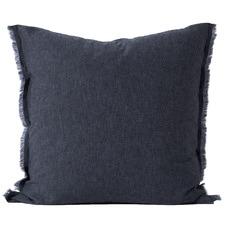 Chambray Fringe Linen-Blend European Pillowcase