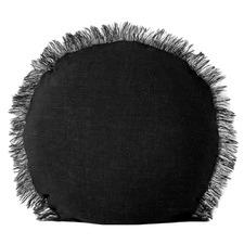 Round Vintage-Wash Fringed Linen Cushion