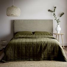 Khaki Maison Vintage Cotton-Blend Queen Coverlet