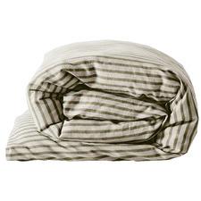 Khaki Heirloom Stripe Cotton-Blend Quilt Cover