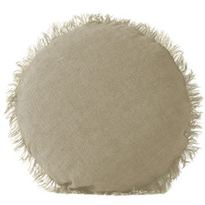 Natural Vintage Linen Round Cushion