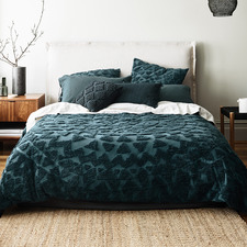Indian Teal Maya Cotton Quilt Cover