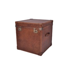 Vintage Leather Side Table Trunk
