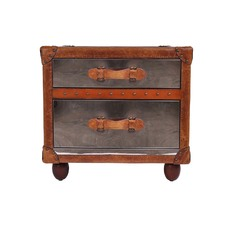 Vintage Leather & Bright Steel 2 Drawer Side Table
