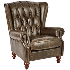 Vintage Leather Espresso Chesterfield Club Chair