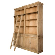 Library 2 Tier Oak Bookcase With Ladder