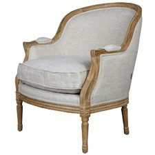French Linen Oak Bergere Louis XV Chair