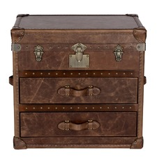 Vintage Leather Chest 2 Drawer & Top Opening