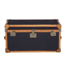 Vintage Leather & Black Fabric Trunk