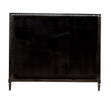 Georgian Black Velvet Upholstered Piano Bed Head