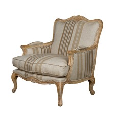 Issabelle Oak Stripe Fabric Arm Chair