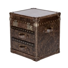 Vintage Leather 2 Drawer & Top Opening Chest