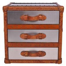Hazelnut Vintage Leather & Matt Steel 3 Drawer Side Table Trunk