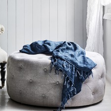 French Linen Round Tufted Ottoman