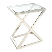 Vincini Glass & Steel End Table