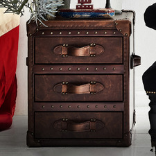 Vintage Leather 3 Drawer Side Table Trunk