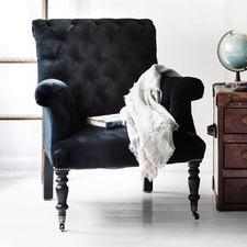 Hurley Piano Black Velvet Chair