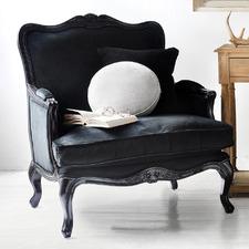 Issabelle Black Gloss Black Velvet Arm Chair