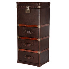 Vintage Leather 3 Drawer & Top Opening Tallboy