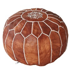 Tan Marrakesh Traditional Stitch Ottoman
