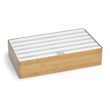 Large Bamboo & White Top 6 Port USB Hub