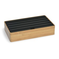 Large Bamboo & Black Top 6 Port USB Hub
