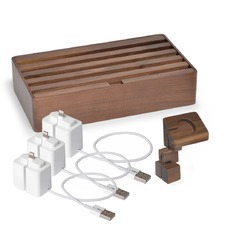 Large Walnut 6 Port & ALLDOCK Accessories Set