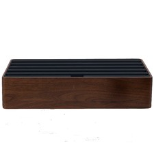 Large Walnut & Black Top 6 Port USB Hub