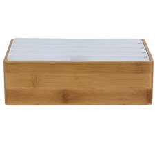 Medium Bamboo & White Top 4 Port USB Hub