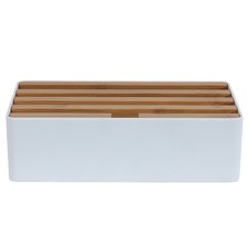 Medium White & Bamboo Top 4 Port USB Hub
